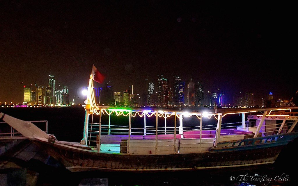 Wooden Dhow by night Doha