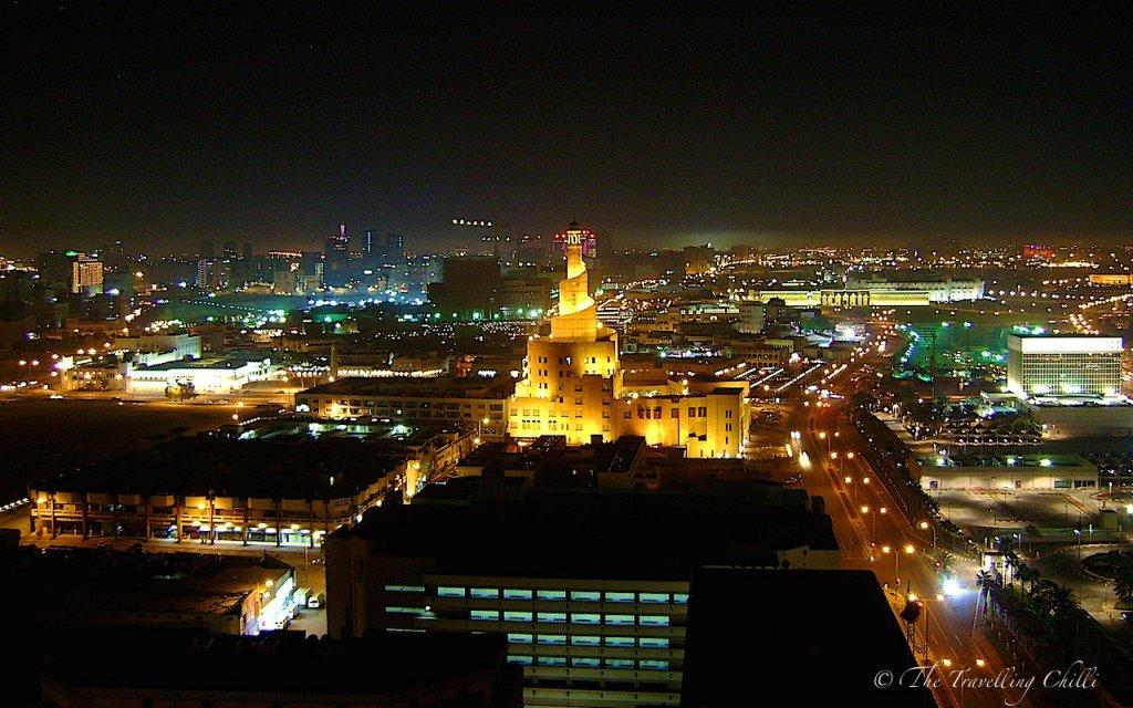 Night view Doha souq Fanar mosque