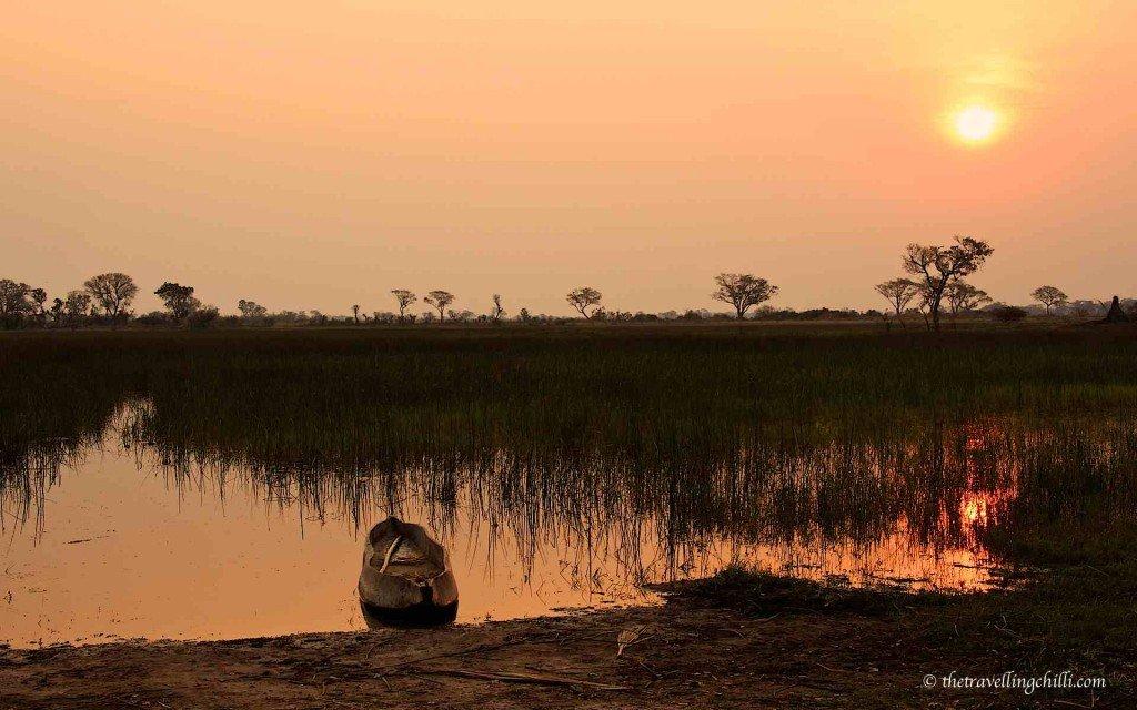 sunset botswana delta okavango