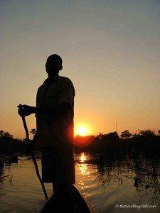 African sunset botswana Okavango Delta silhouette mokoro