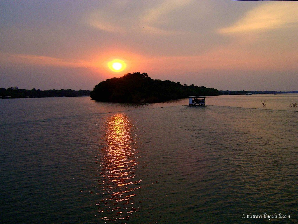 African Sunset on sunset boat cruise Zambezi in Zimbabwe Victoria Falls sunset