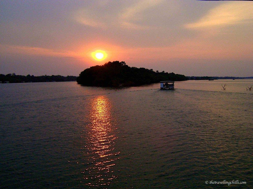 African Sunset on sunset boat cruise Zambezi in Zimbabwe Victoria Falls sunset