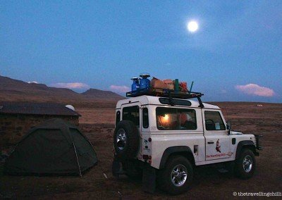 Camping under a full moon