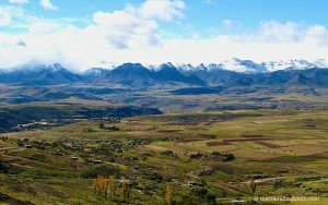 lesotho snow capped mountains