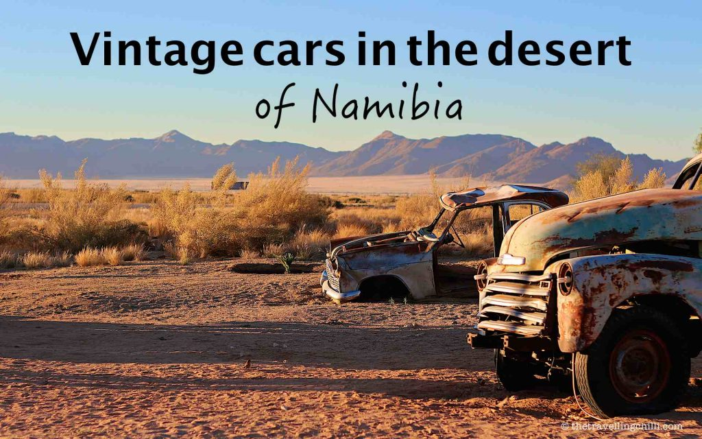 Vintage cars in the desert of Namibia