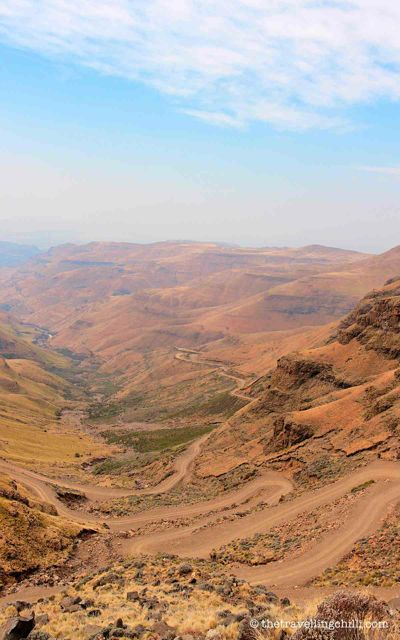 View of the Sani Pass from the top of the pass in Lesotho