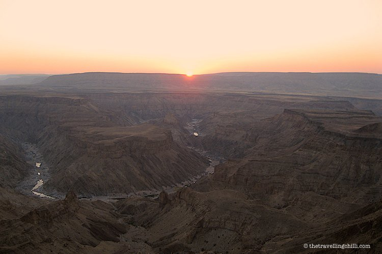 sunset fish river canyon namibia