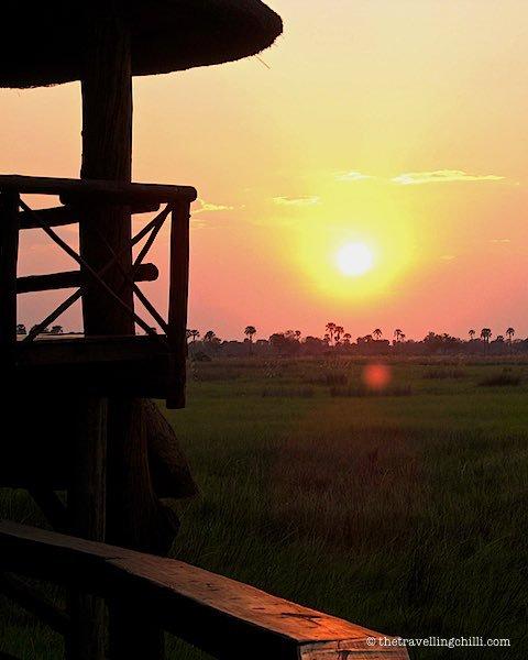 African sunset Okavango Delta Botswana