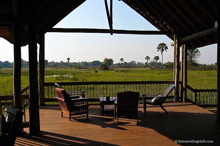 Moremi Crossing view over Okavango Delta Botswana