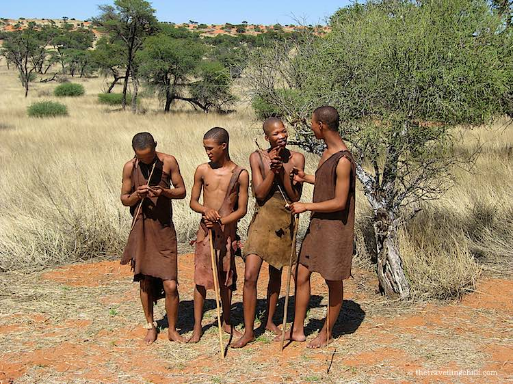 Bushman people are hunting in Namibia and are part of the San tribe