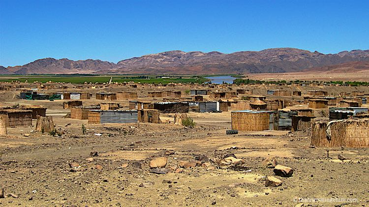 Rural settlement Orange river Namibia