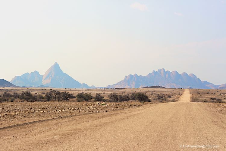 Gravelroad to granite boulders of Spitzkoppe in Namibia