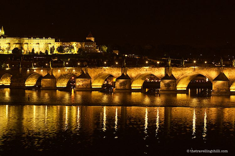 Charles Bridge by night in Prague Czech Republic