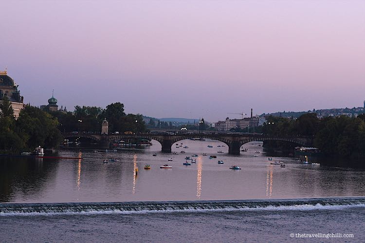 Vltava River view by night in Prague