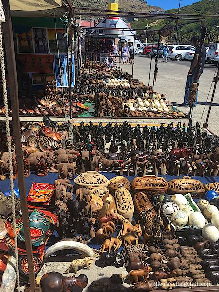 Market with wooden crafts souvenir cape town in Houtbay South Africa