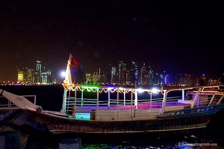 Dhow at night Corniche Doha
