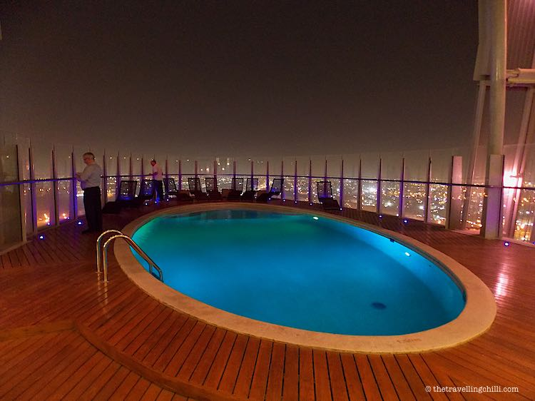 Infinity pool with city views at The Torch Doha |best Things to do in Doha Qatar | things to do in Qatar | Doha things to do