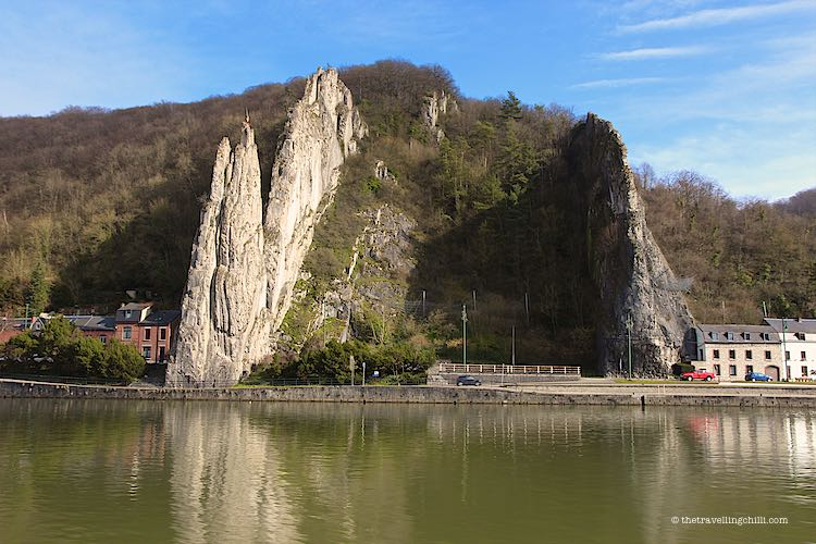 The Split Rock formation Rocher Bayard in Dinant when driving from Anseremme