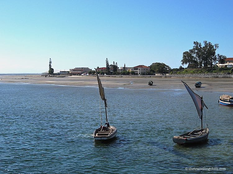 2 dhows in Vilanculos by the beach Mozambique