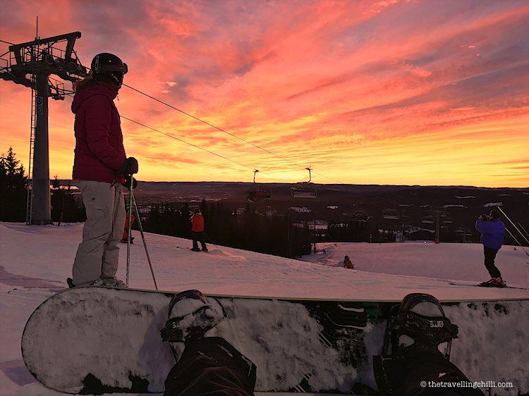 Oslo winter park sunset