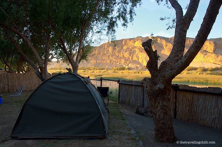 Sunrise view over the Orange river from Amanzi trails campsite in Namibia Noordoewer