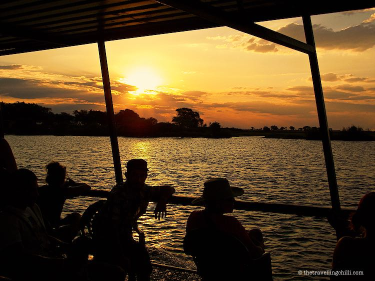 Sunset boat cruise on the Chobe river in Chobe National Park in Botswana