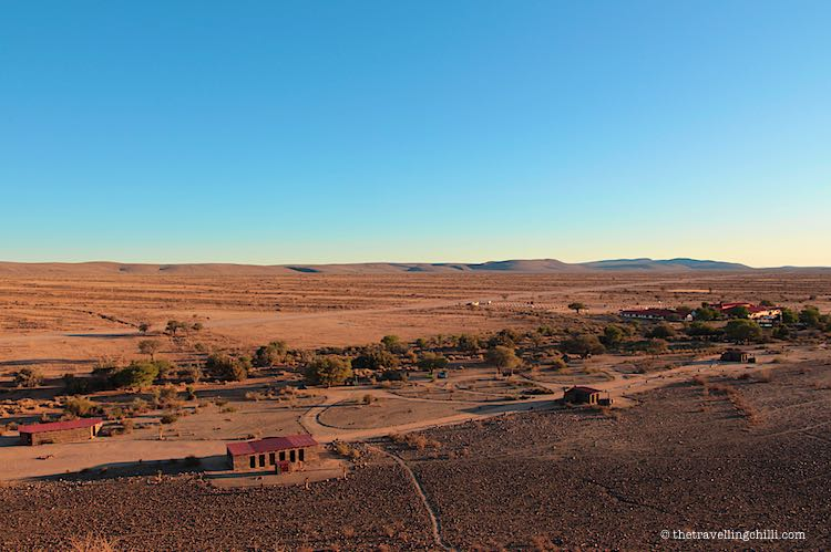 Aerial view from the Canyon Roadhouse campsite in Namibia which is a stunning campsite in Namibia