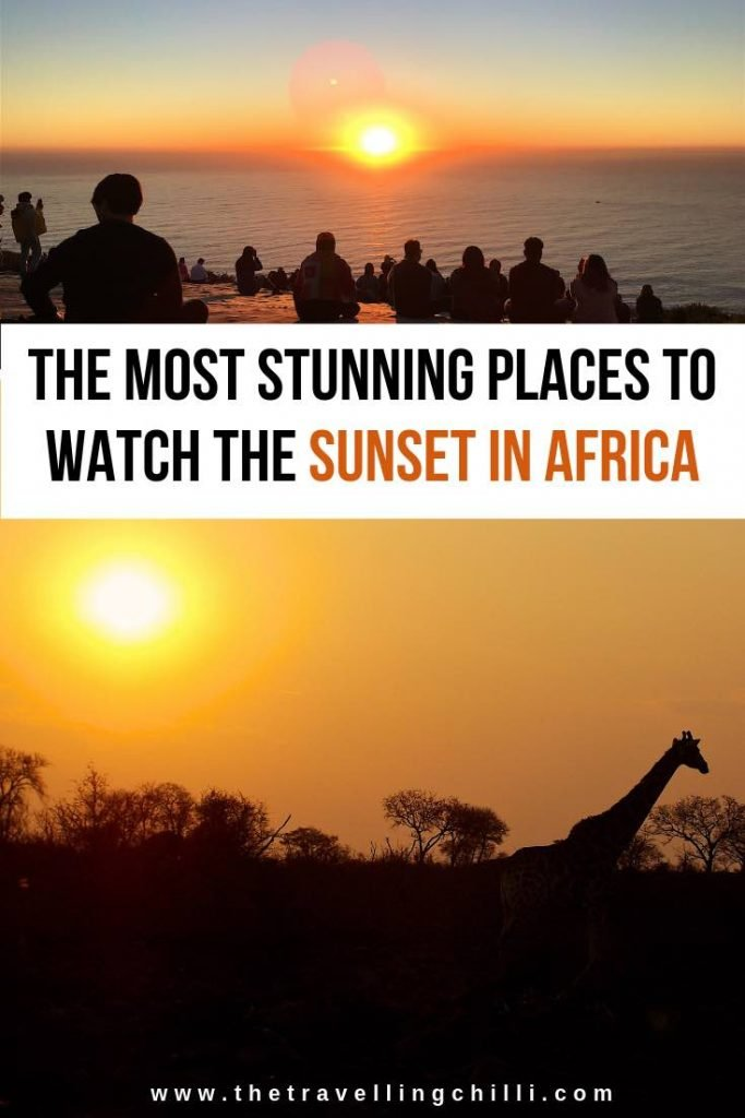Most stunning places to watch the sunset in Africa with an African sunset silhouette of a giraffe or watching the sunset in Cape Town from Signal hill