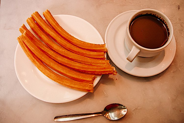 Churros con chocolate is a pastry typically eaten during breakfast when the churros are dunked into thick chocolate
