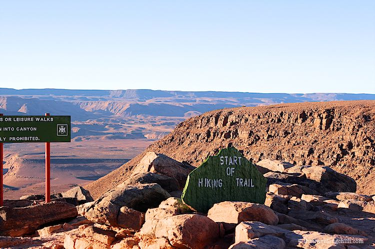 Starting point of the multi day hiking trail Fish River Canyon Namibia