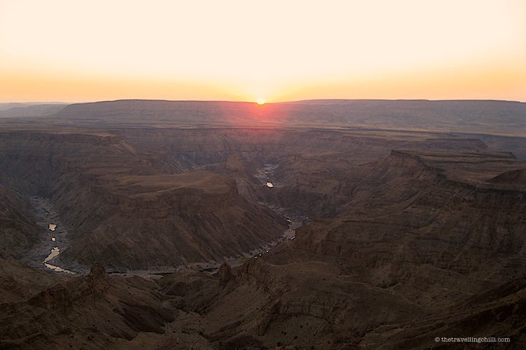 View of Hell's Corner during sunset at the Fish River Canyon Namibia