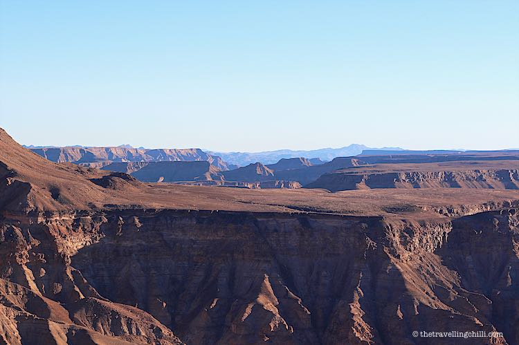 Panorama view of the Fish River Canyon from the viewpoint in Namibia