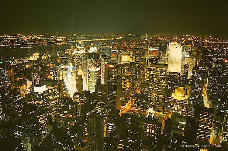 Empire state building at night view from top