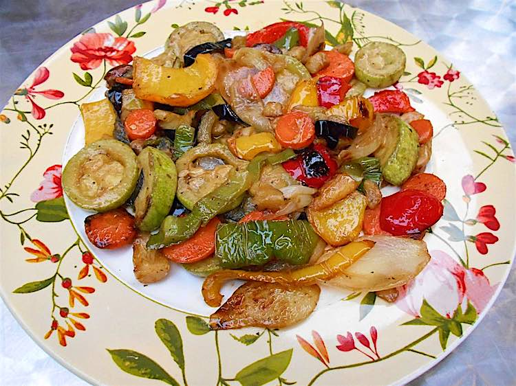 Parrillada de verduras is a dish with grilled vegetables from Spain