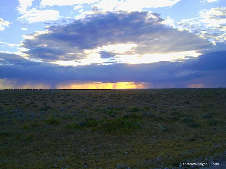 Rain clouds forming in Etosha National Park in Namibia