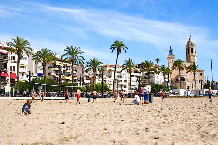 Platja Sant Sebastia Sitges Barcelona Spain