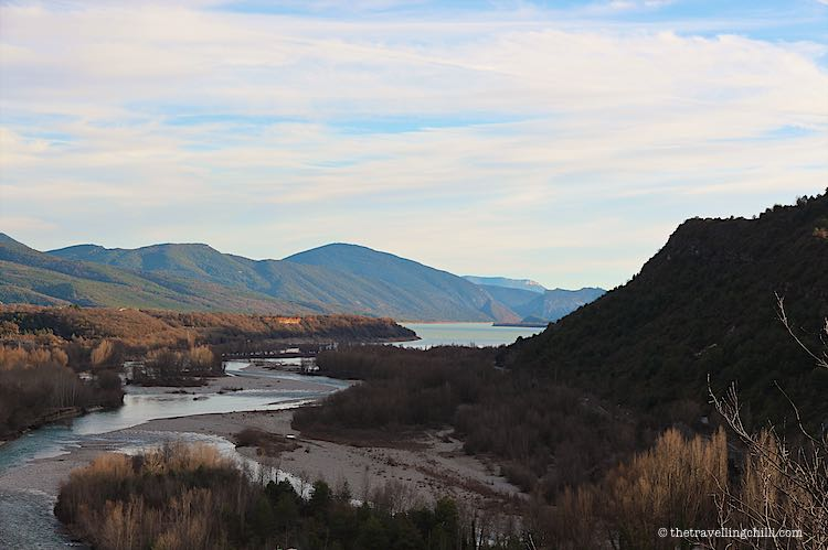 View mountains river and lake from Ainsa Sobrarbe Spain