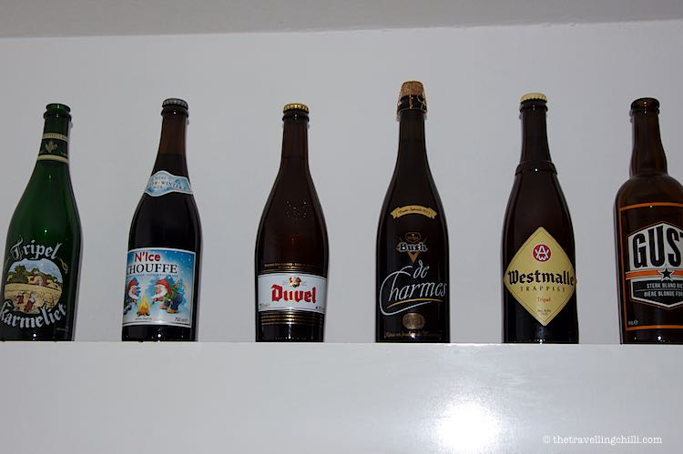 Line up of Belgian beers in large bottles