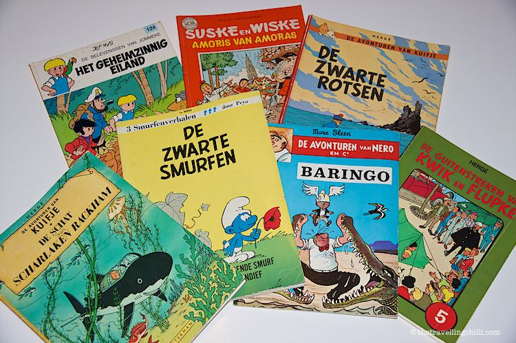Collection of Belgian comic books Kuifje, Suske en Wiske, De Smurfen, Jommeke, Kwik en Flupke