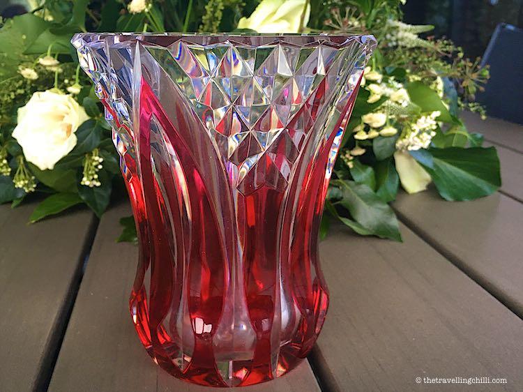 Val Saint Lambert Crystal red vase as souvenir in Belgium