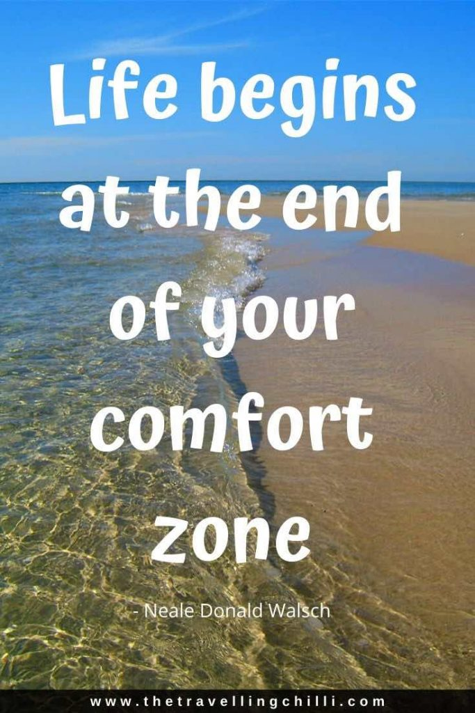 Life begins at the end of your comfort zone | Neale Donald Walsch |Road Trip Quotes | Travel Quote | Road Trip Captions