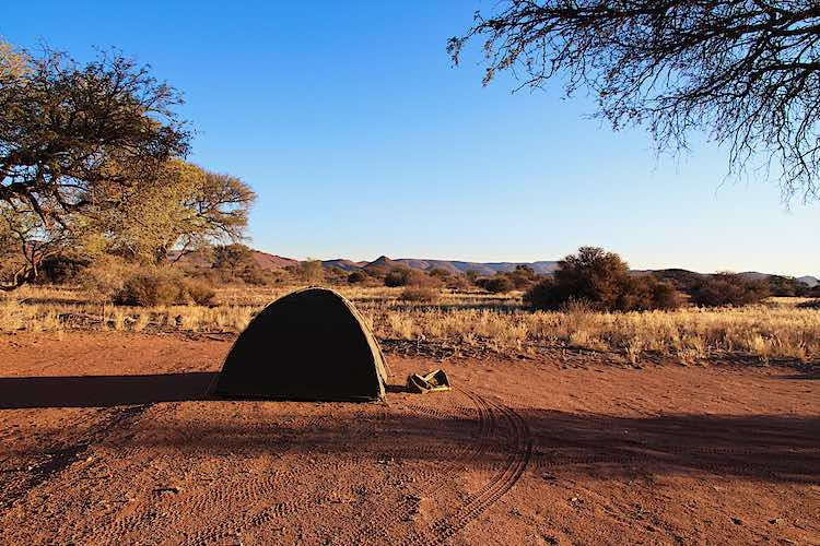 Camping in Namibia at Duwisib Castle in a tent