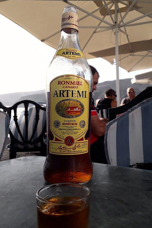 Bottle of RonMiel in Canarias in landscape