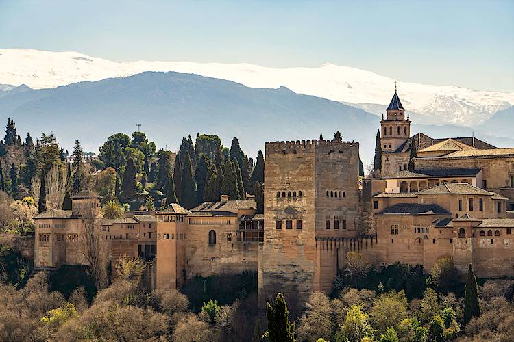 View of Alhambra in Granada Spain landmarks