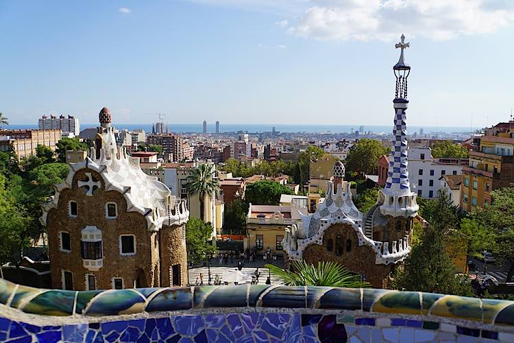 View over Barcelona from Park Guell Gaudi in Barcelona is a real landmark in Barcelona Spain