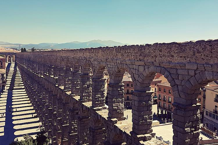 Aqueduct Segovia near Madrid Landmark in Spain