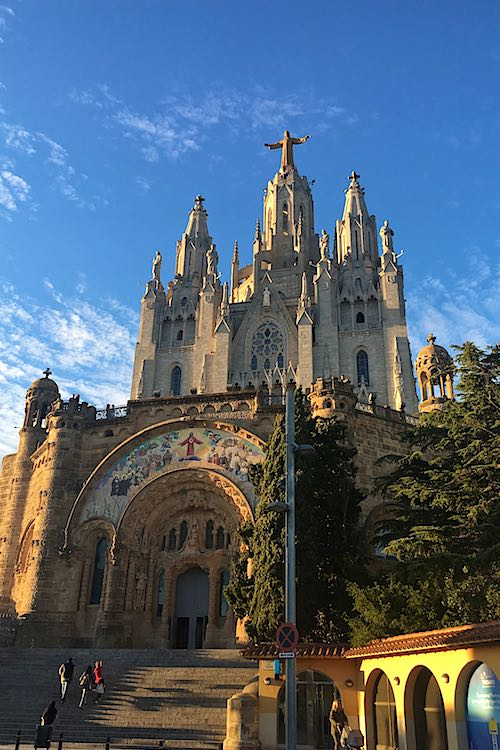 Tibidabo cathedral in Barcelona is a landmark in Spain