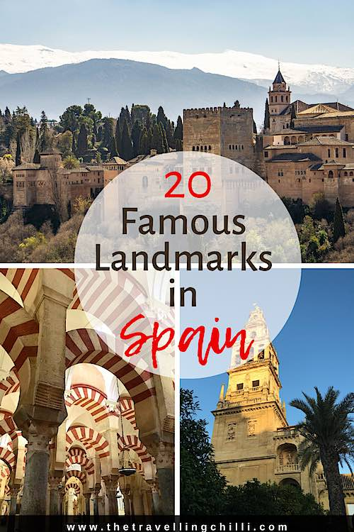 Spanish landmarks of Spain are the Alhambra in Granada, the Mezquita in Cordoba, the Giralda in Sevilla all famous monuments in Spain