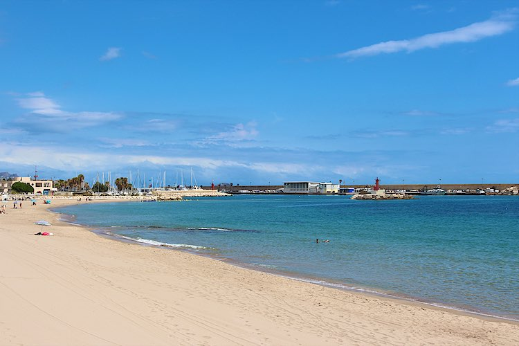 View of the beach and marina in La Vila Joiosa