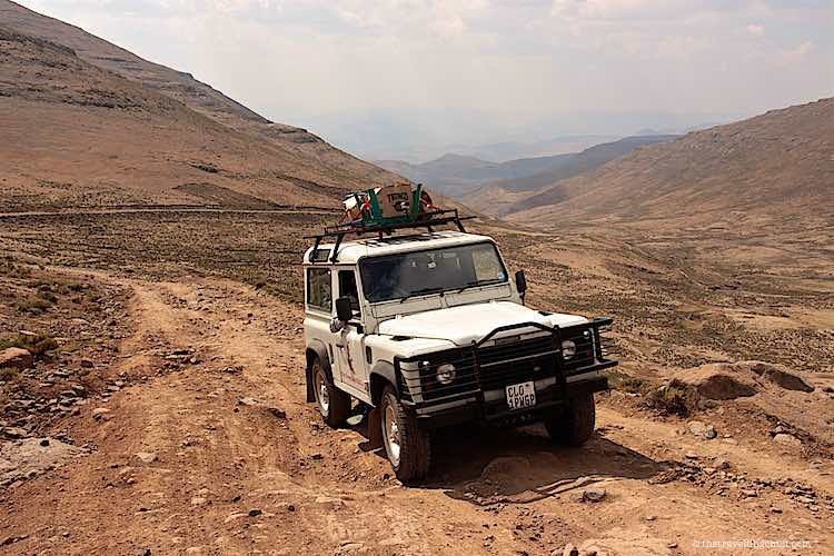 Off road in Lesotho with a landrover defender